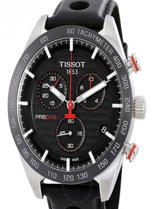 Tissot PRS 516 - Black Stainless Steel Dial With Black Leather Strap Chronograph Watch For Men