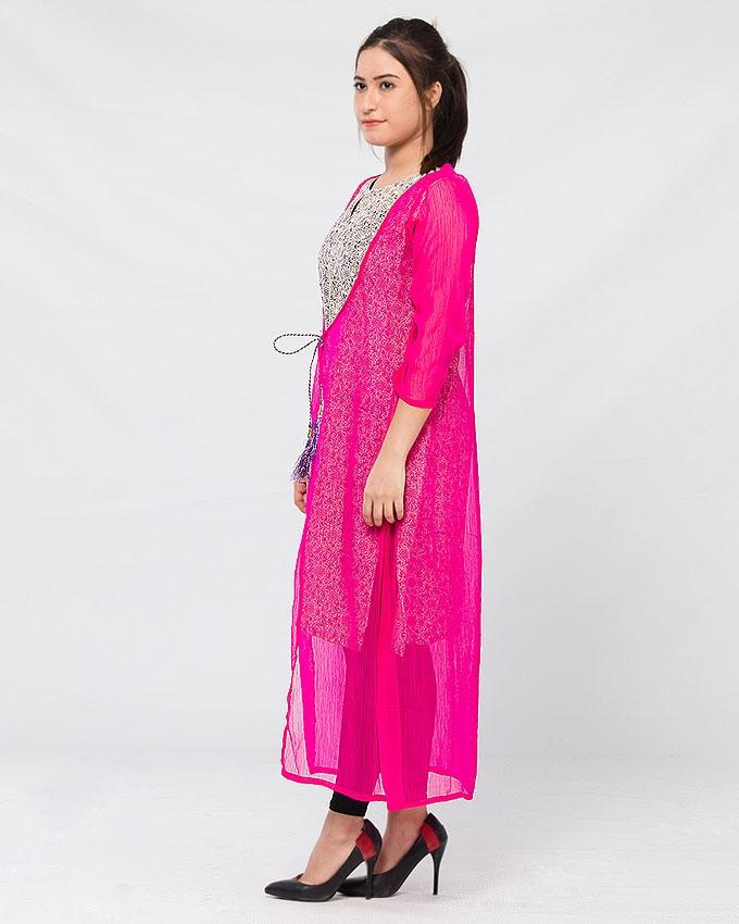 Multicolor Cotton Printed Kurta with Chiffon Layer