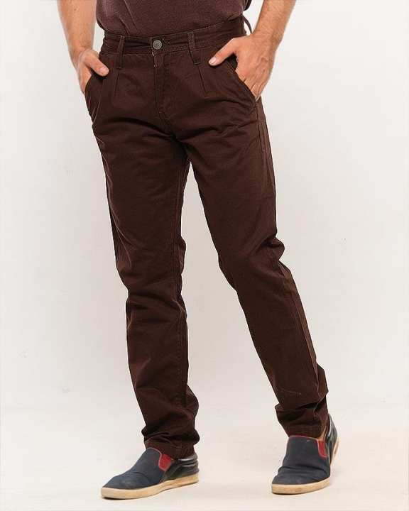 Brown Cotton Chinos for Men