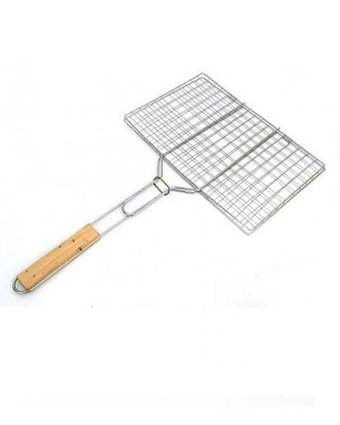 Bbq Grill Basket With Wooden Handle - Silver