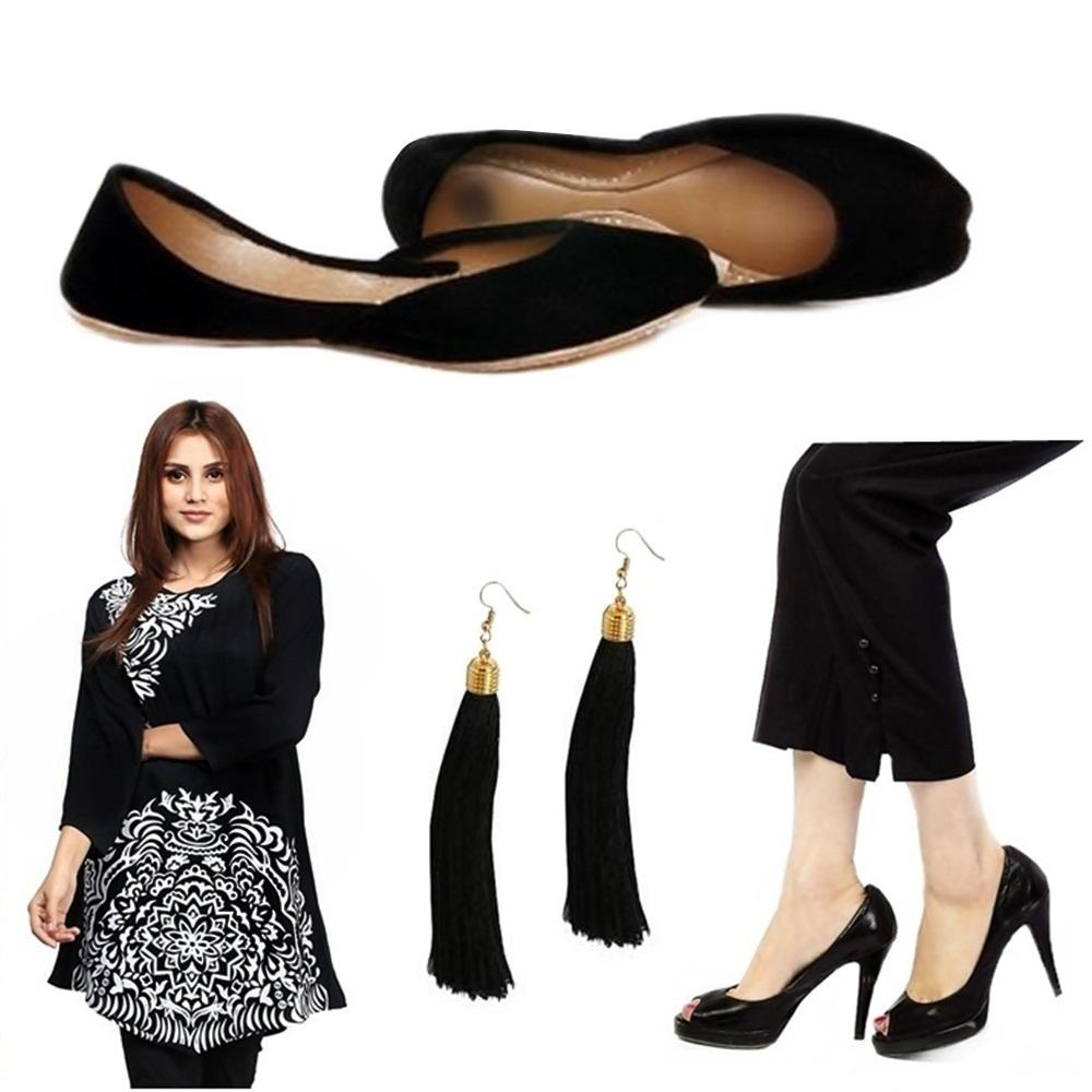 206a1992d9 Pack Of 4 - Black Combo Of Kurti Khussa Earrings   Pants - Doh355