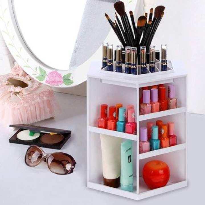 360-degree Rotating Makeup Organizer Box Brush Holder Box Jewelry Box  Storage Box