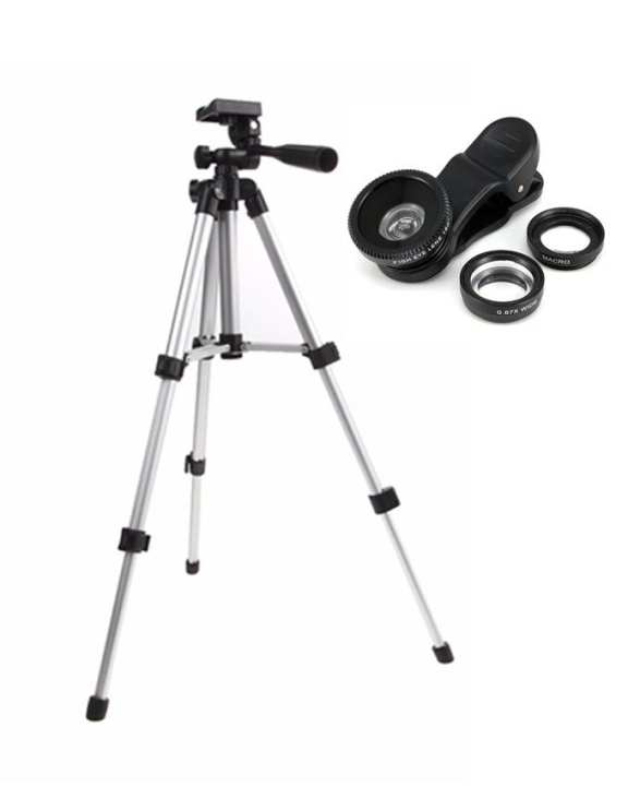 Pack of 2 - WT3110A Portable Mobile Phone Tripod Stand + 3in1 Mobile Lens - Black