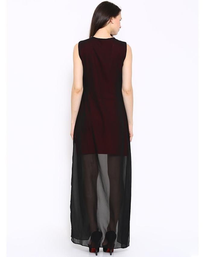 Red & Black Chiffon Dress For Women