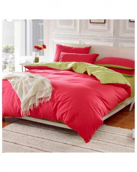 Red and Light Green Cotton Bed Set d-19