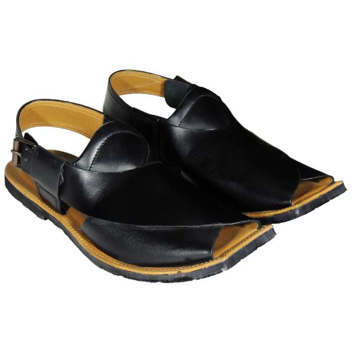 NOVADO Black Leather Peshawari Sandal With Tyre Sole