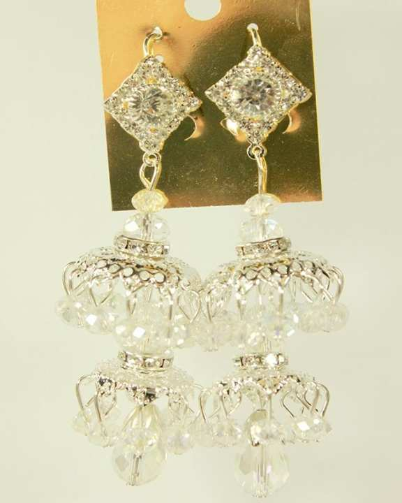 Silver Long Earring with Zircon and Beads