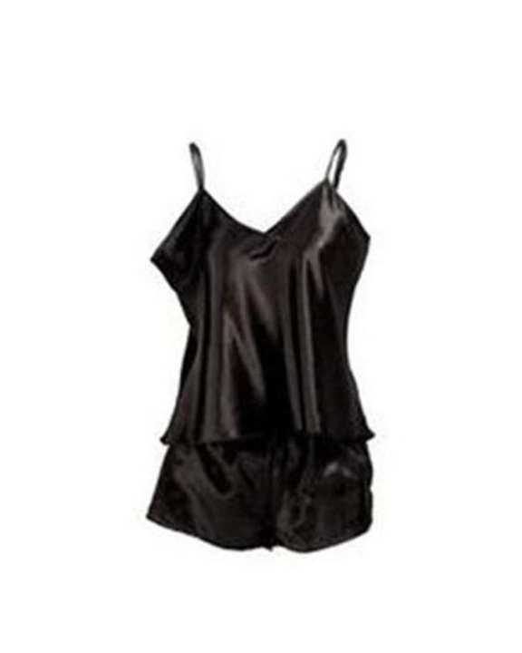 Black Satin Cami Set Nightwear with Short