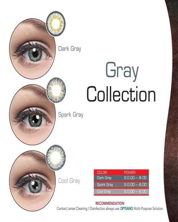 Cool Gray - Optiano Soft Contact Lenses With Original Optiano Kit