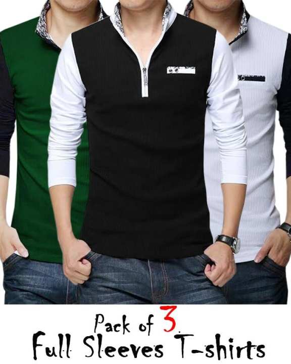 Pack of 3 - Multicolor Cotton Y-Neck T-shirts for Men