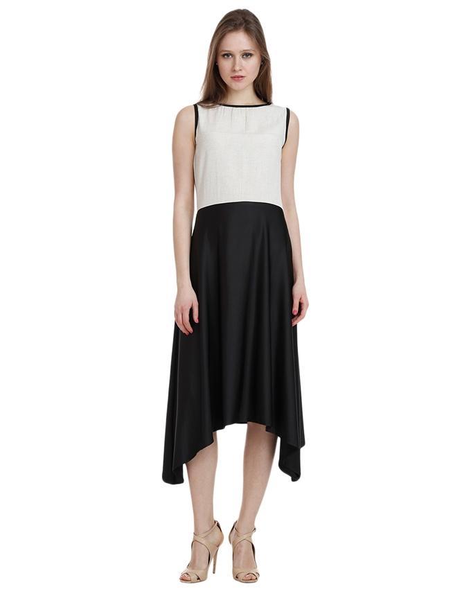 Black & White Chiffon Dress for Women - SI-306