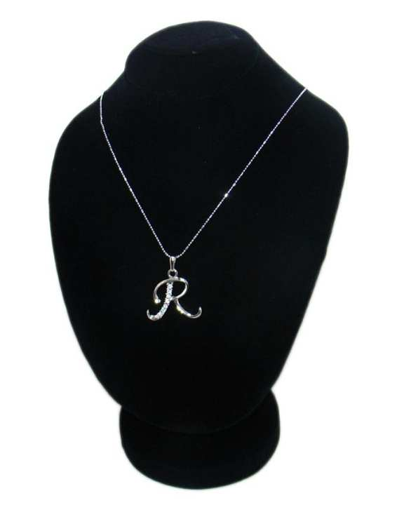 Silver R-Stone Metal Pendant With Chain For Women