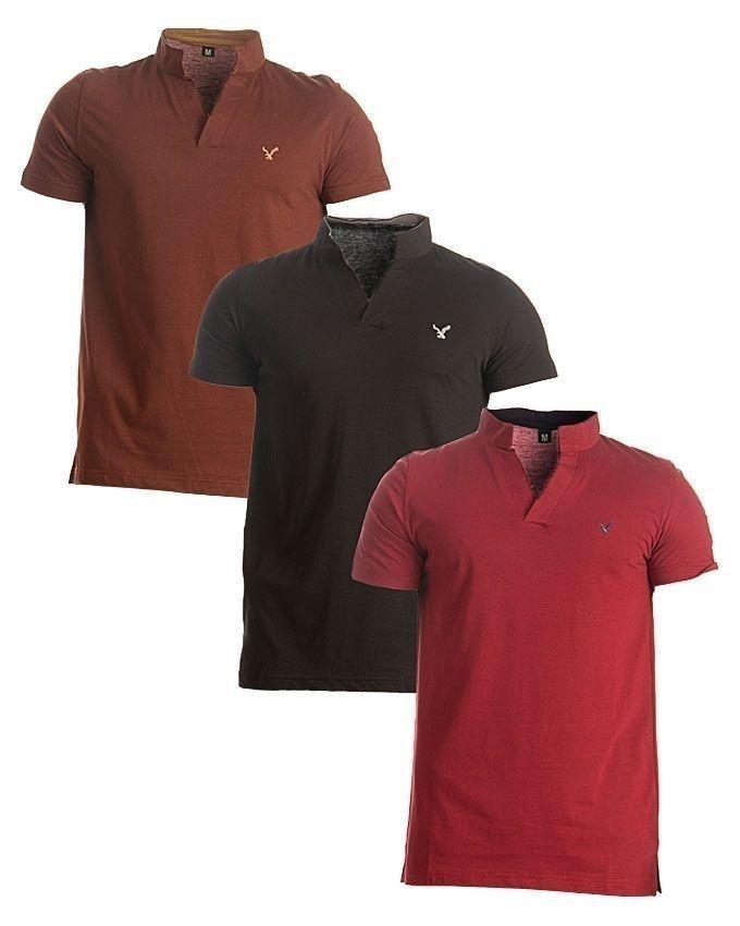 Pack of 3 - Red, Black & Brown Cotton T-Shirts For Men