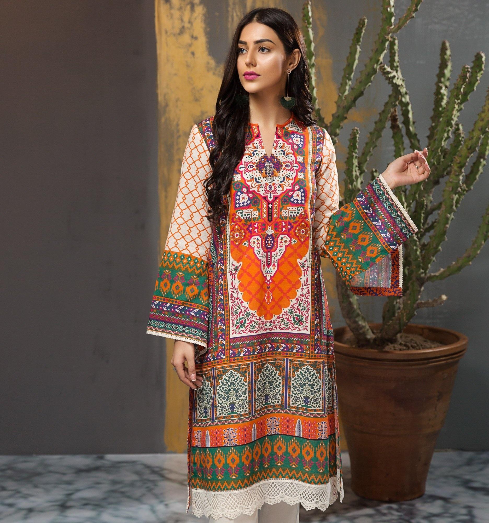 e78f3289899 Folk Lore Shirt Winter Collection Orange Khaddar 1pc  -Unstitched-U0394-SSH-ORG