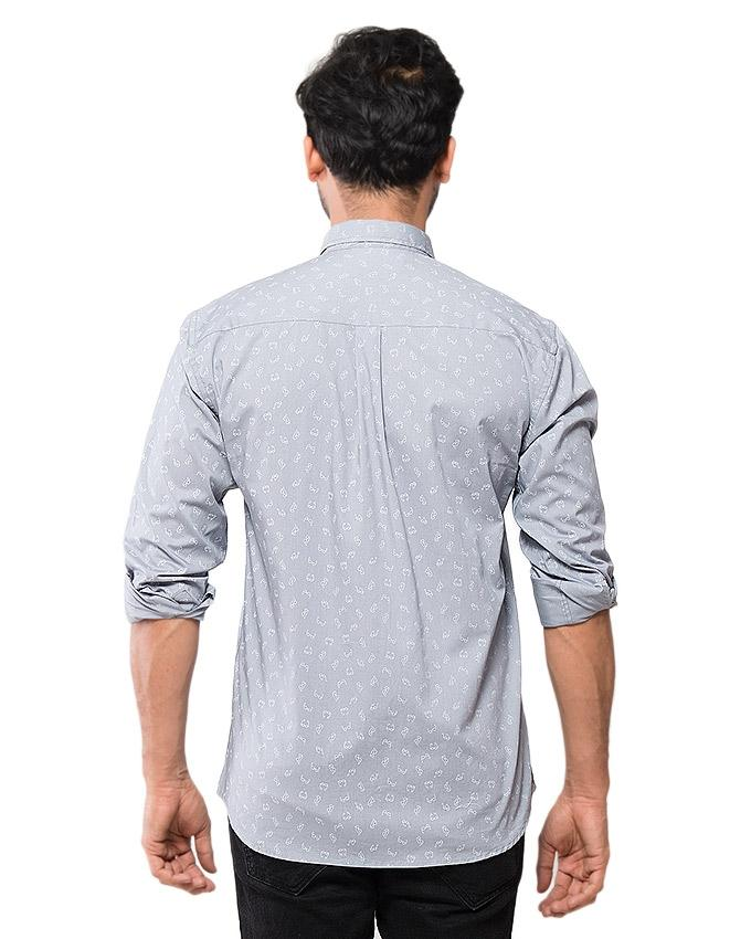 Grey Cotton Printed Shirt for Men - EPS01