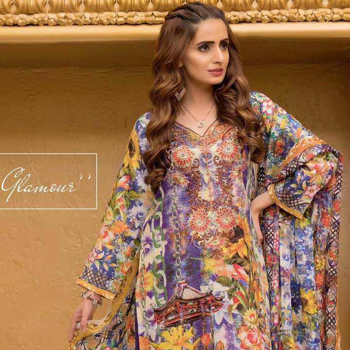 Chase Value Centre Rana Arts Camellias Viscose Embroidered Multi 3 pcs Suit - A AY-224