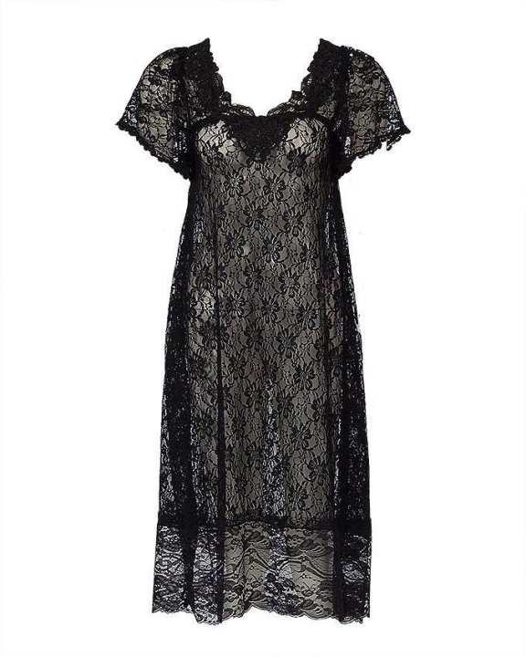 Black Stretchable Net Nightsuit For Women - Net Nighty-Black