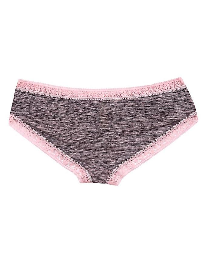 Grey & Pink Polyester Marled T-Shirt Bra with Panty For Women
