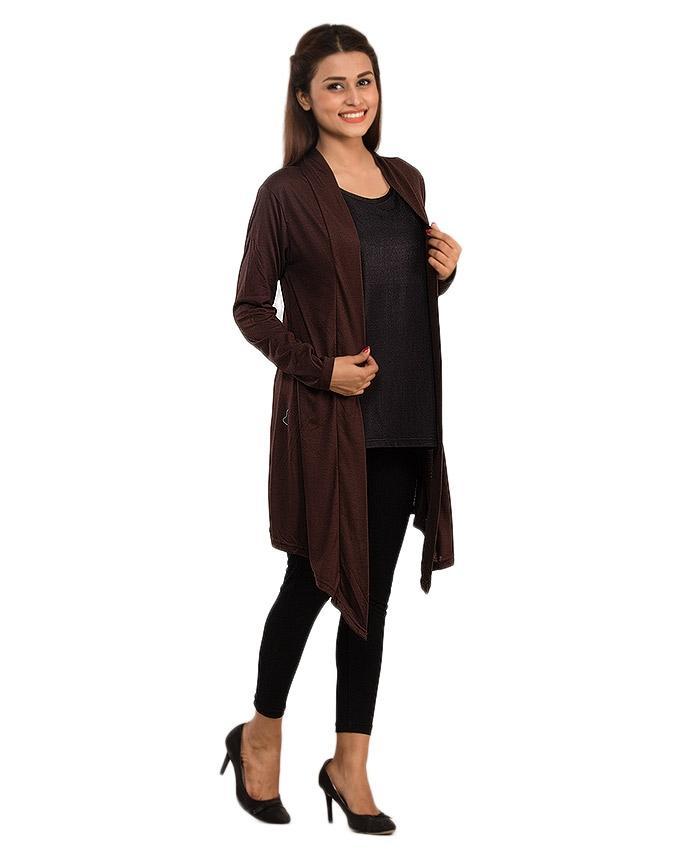 Brown Jersey Stylish Shrug for Women - CA0145
