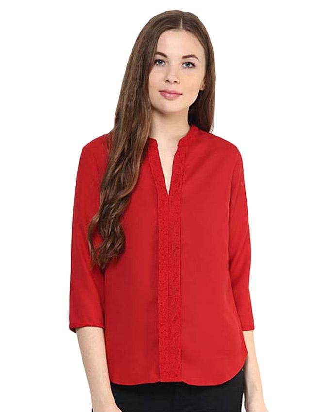 Red Viscose Top for Women