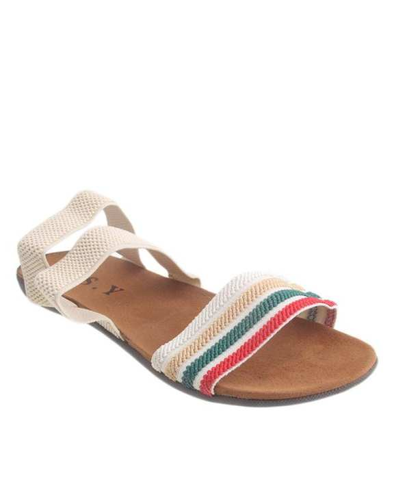 Cream Imported Flat Sole Strappy Sandals for Women - KK22