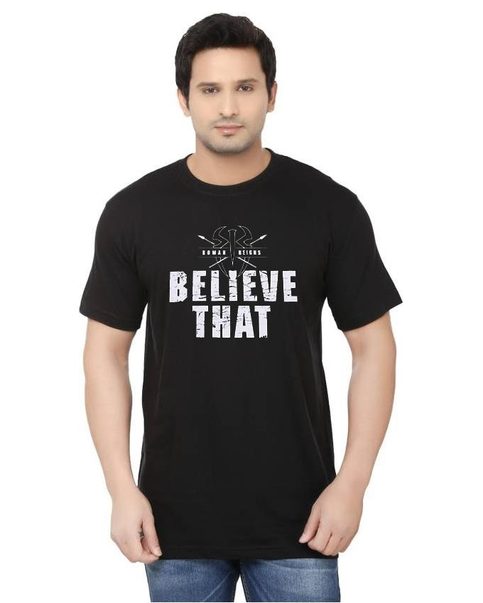 Black Believe That Printed Cotton T Shirts