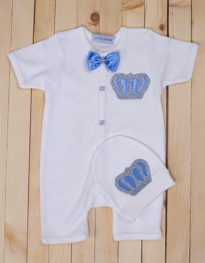 9287ea822 2 Pieces Light Blue Romper Set For Baby Boys-Lil'Champs Summer Collection