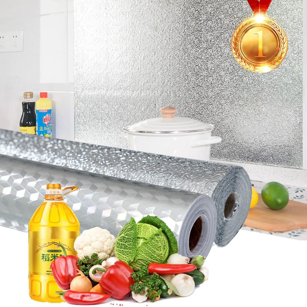 2PCS roll- Aluminium Foil Aluminium Foil Sticker Aluminium Foil Sheet Kitchen Waterproof Self-Adhesive Anti-Mold and Heat Resistant Oil Proof Aluminium Foil Paper Sticker Roll for Kitchen Wall, Drawers, Shelves and Furniture (Silver)