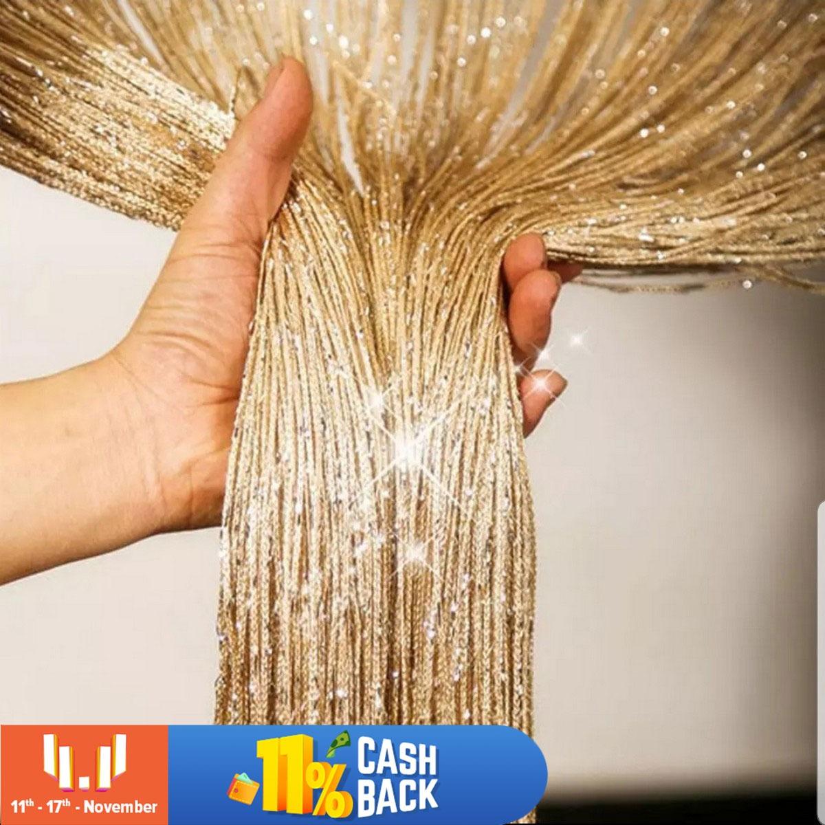 100x200cm Shiny Tassel Flash Golden Line String Curtain Window Door Divider Sheer Curtain Valance Door Treatment Home Decoration1