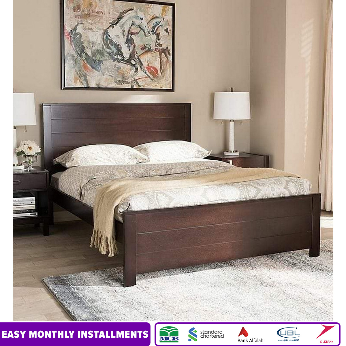 Ghania Modern Queen & King Size Bed - Without Mattress