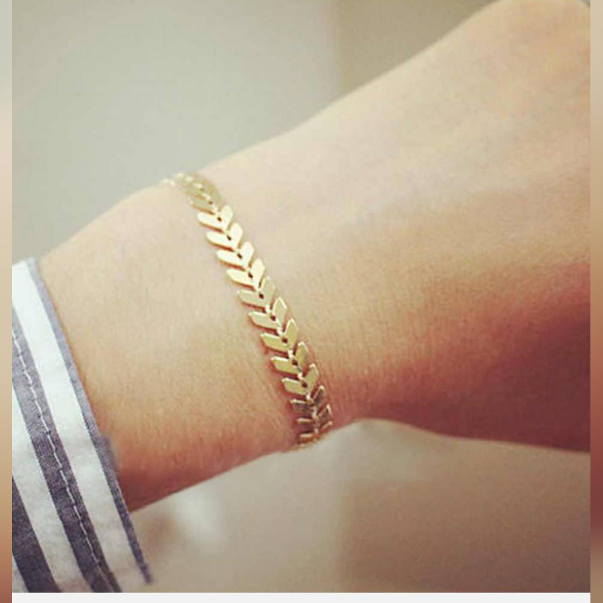 Fish Bone Arrow Bracelet Bangle Silver Golden Bracelet for Women
