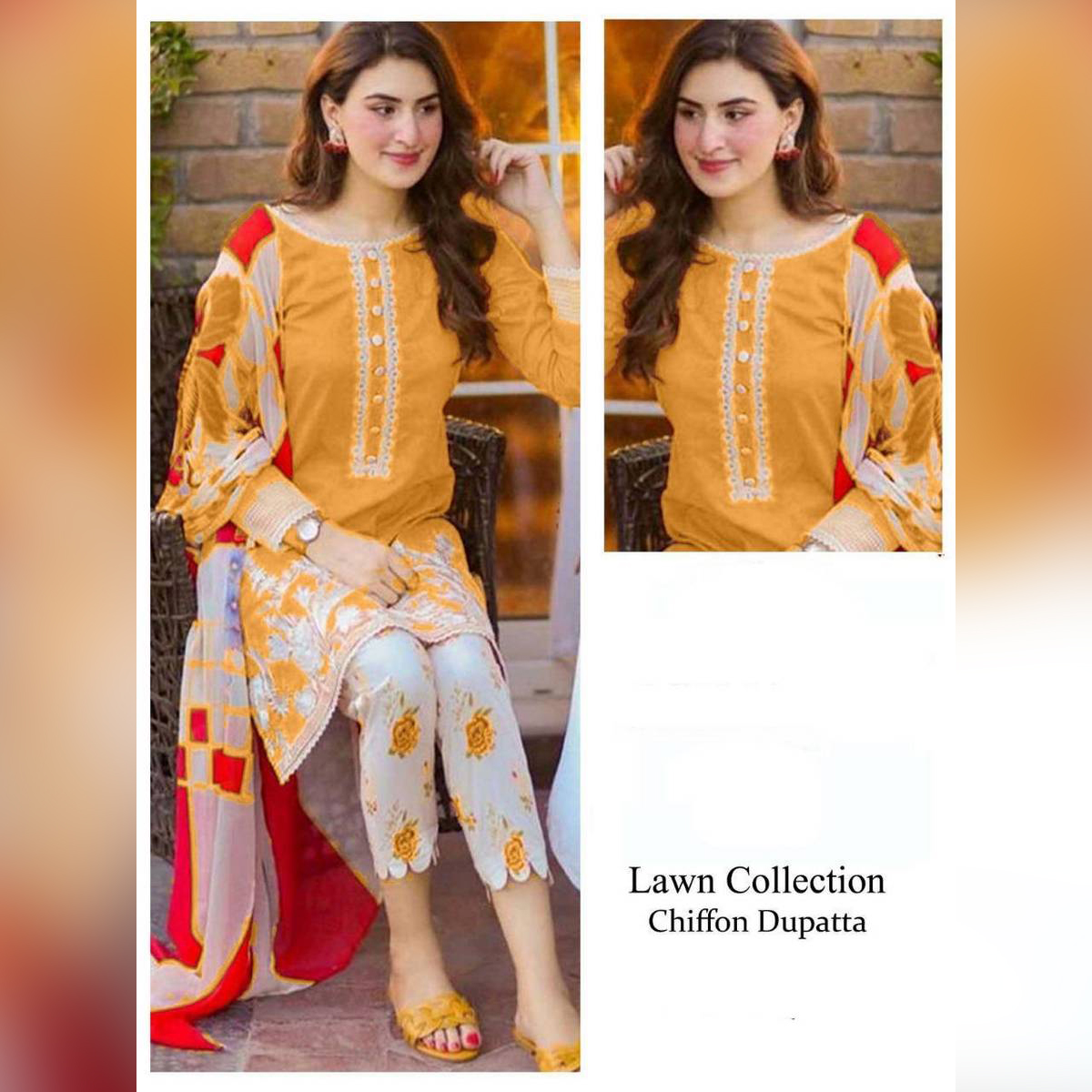 Stylish Summer Collection Lawn Unstitched With Chiffon Dupatta Print Trouser H2