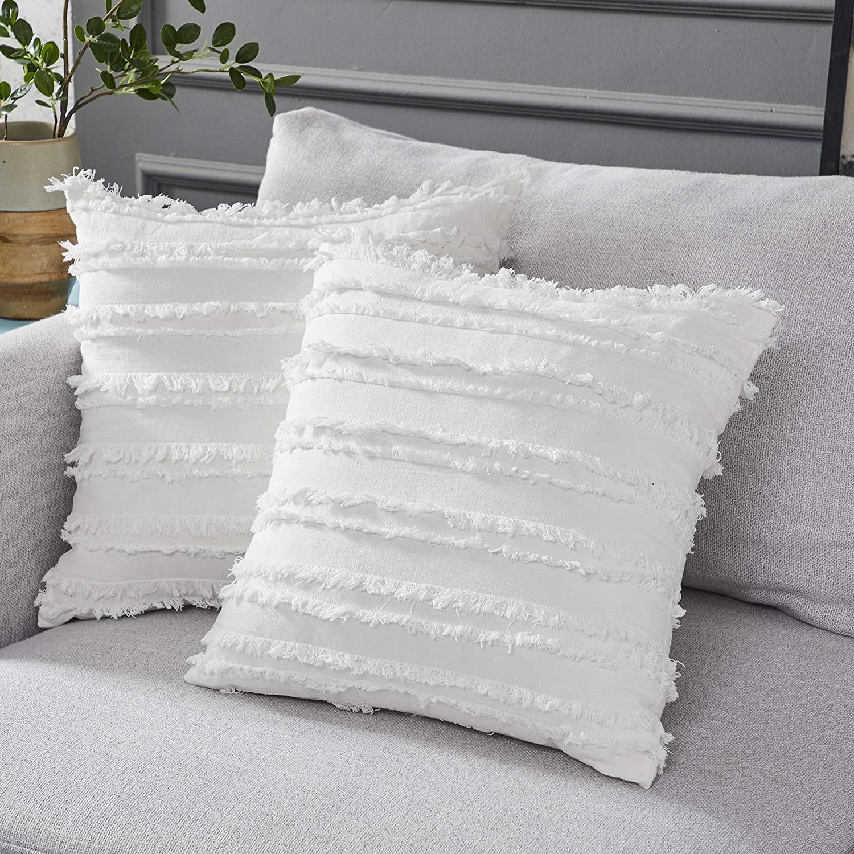 Cushion Cover 2 Pcs Cotton Decorative Lattice Pattern Floor Cushion Super Soft