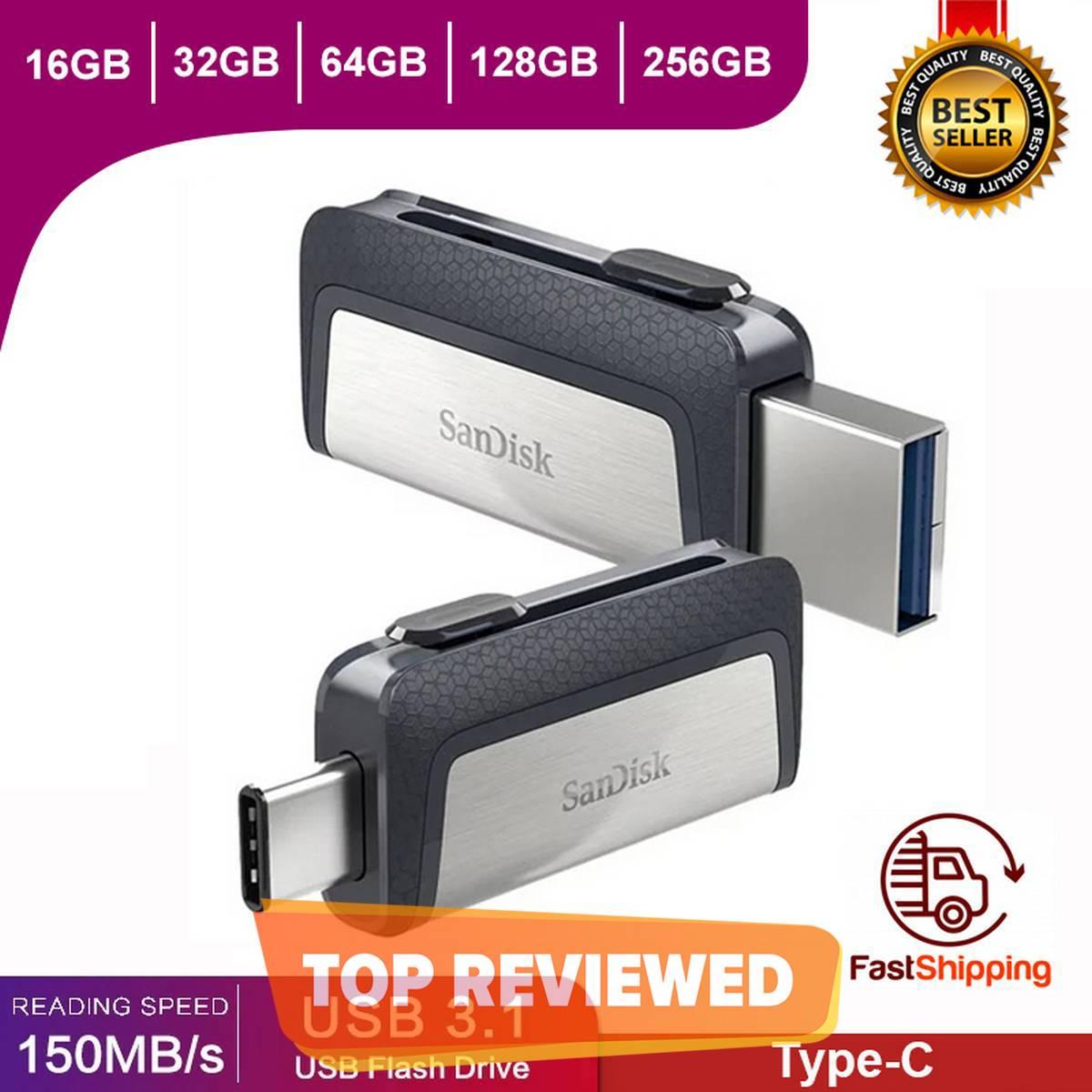 SanDisk OTG Flash Drive 16GB/32GB/64GB/128GB/256GB Ultra Dual USB3.1 Disk OTG Type-C Pen Drive Stick for Smartphone Laptop