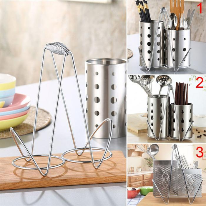 219cd4c9d Stainless Steel Chopsticks Cage Storage Box Set Drain Rack Spoon Fork  Bucket Organizer Kitchen Supplies TB Sale  Buy Online at Best Prices in  Pakistan ...