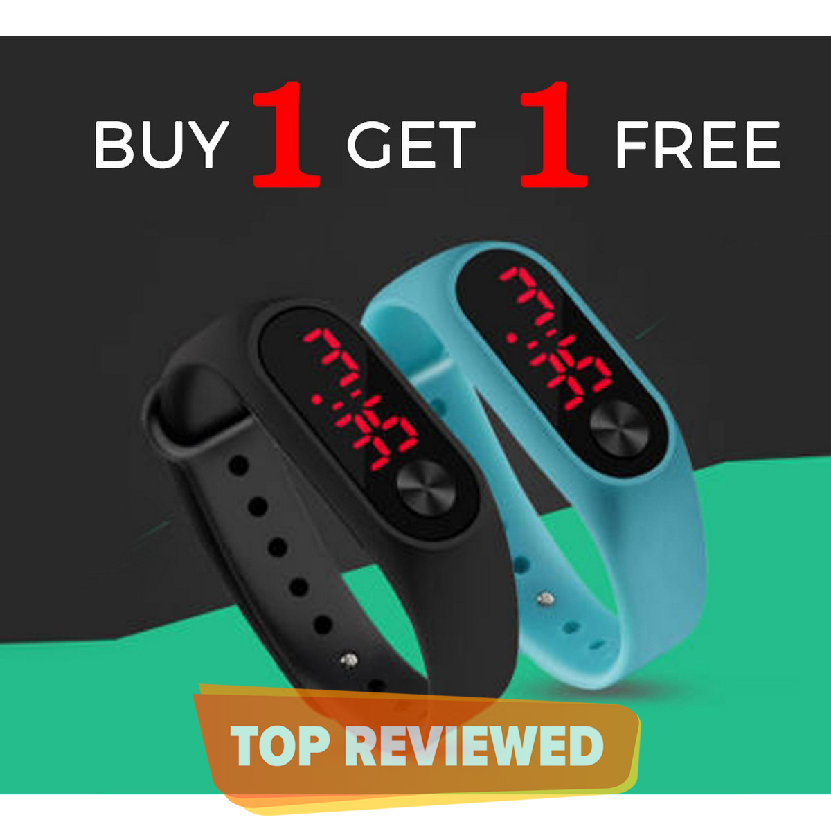 Pack of 2 M3 Touch LED Sports Bracelet Digital Wrist Band - Smart Watch for Hand - Multicolor