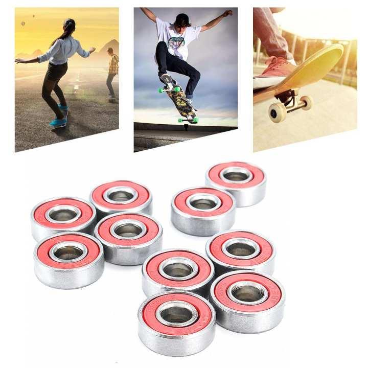 10PCS ABEC-7 608RS Skate Scooter Skateboard Wheels Spare Bearings Ball Roller