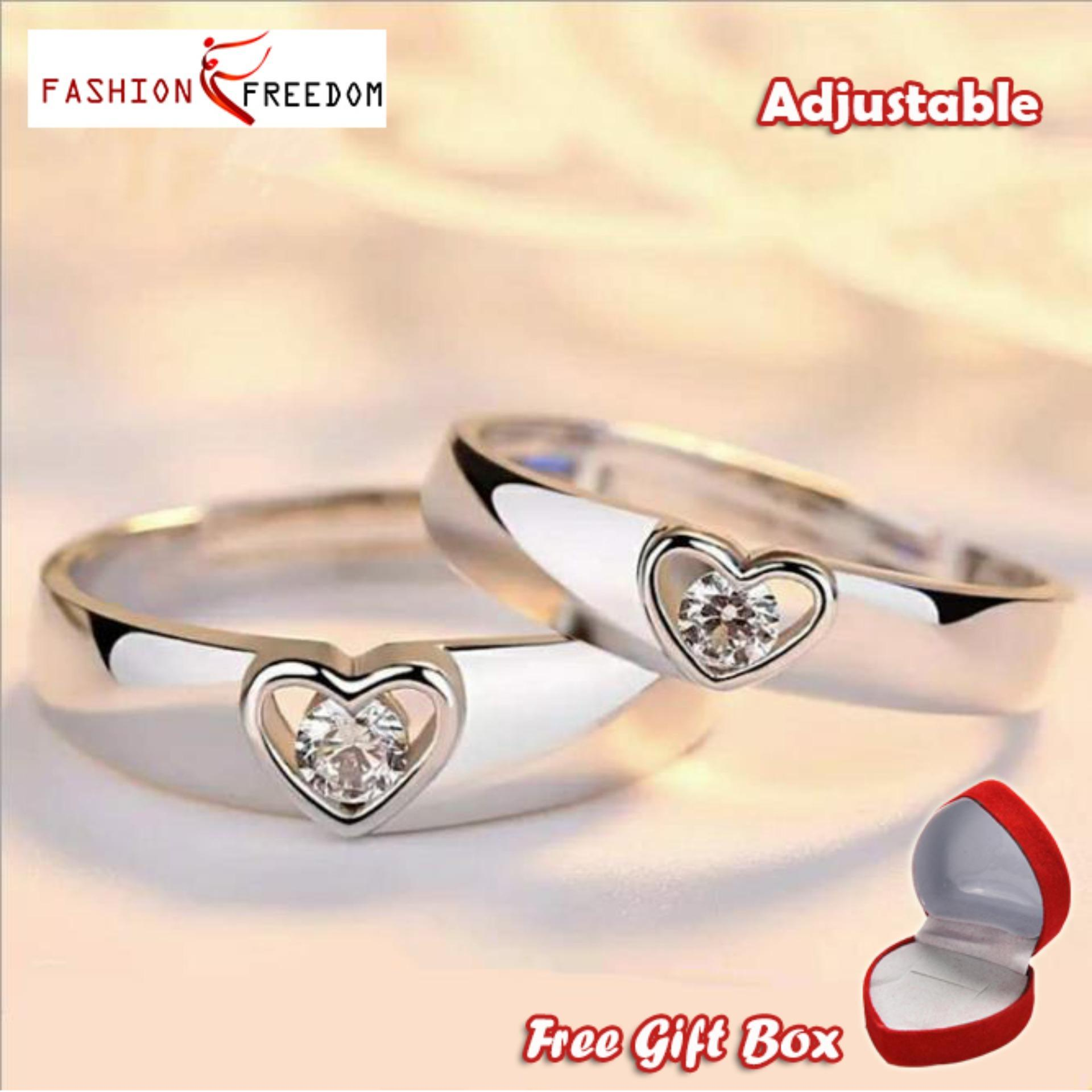 57646b2469 925 silver love couple ring a pair of fashion open heart-shaped diamond ring  simple