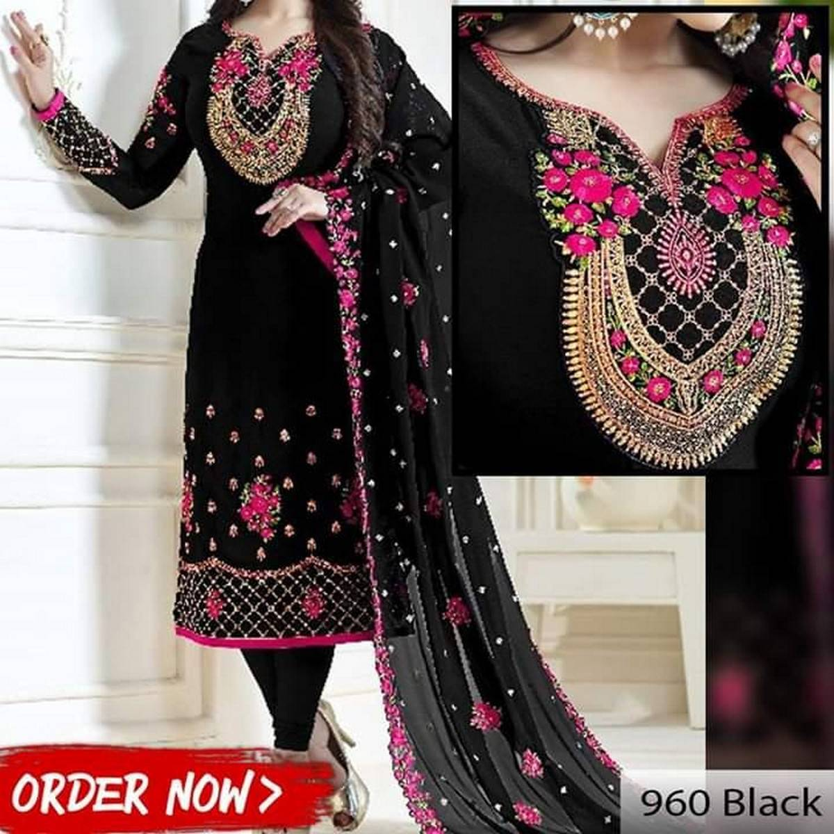 Black Chiffon Embroidered Suit For Women - 3 Piece
