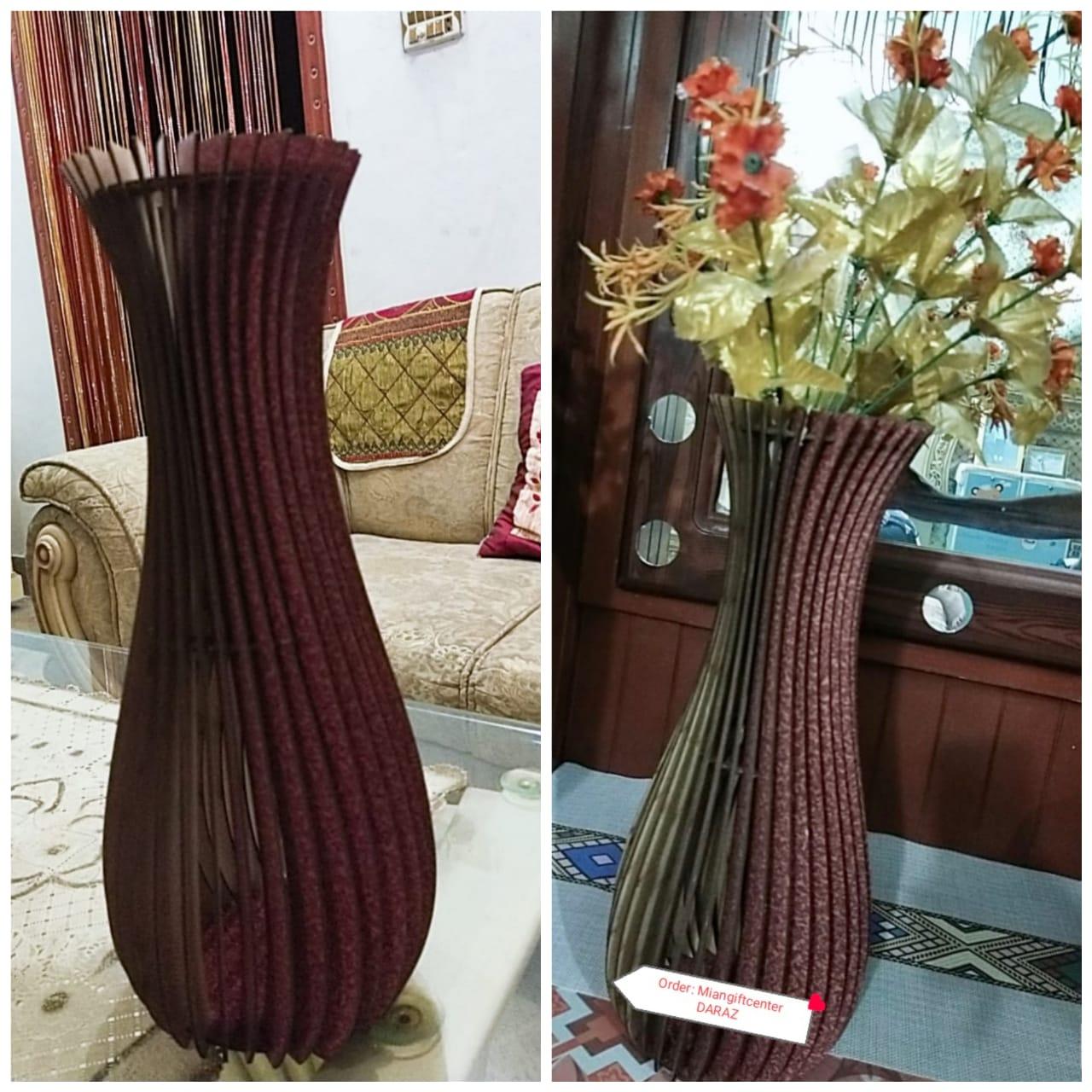 Stylish Design High Quality Wooden Carved Flower Vase