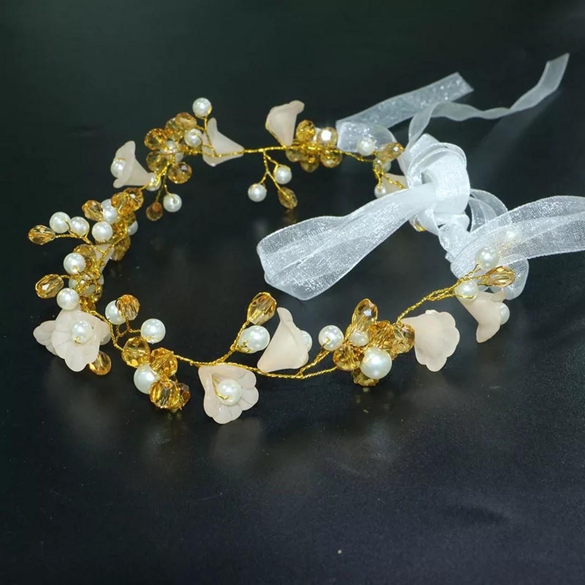 Elegant Bridal Wedding Hair Accessories Crystal Pearl Flower Girl Headband Ribbon Headpiece Hair Jewelry Accessories 4 colors