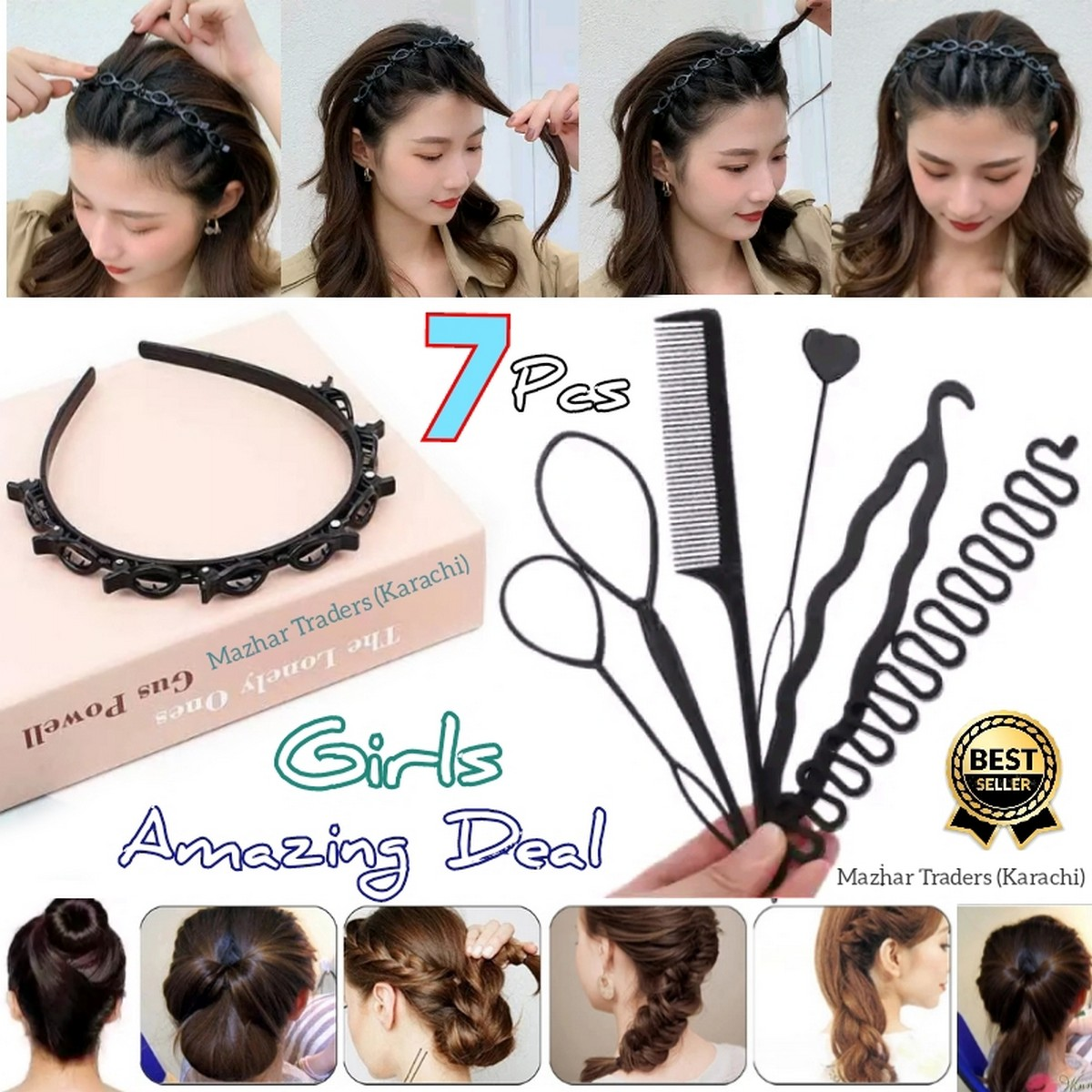 PACK Of 7 ,Black Braider Hair Style twister hair band headband Double Bangs Hairstyle Hairpin, Braids Tools with Zig Zag Pony Tail Makers Professional Braids Tools Hair Styling Kits For Women Girls  Hair Accessories