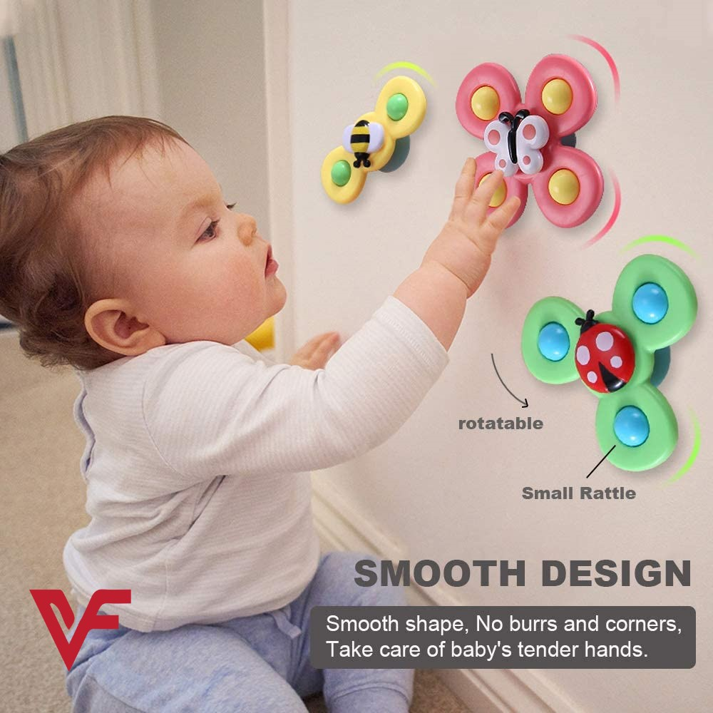 3PCS Suction Cup Spinner Toy Spinning Top Baby Toys (Farm) - Baby Gifts Idea For 1 Year Old Boys And Girls Sensory Toy For Toddlers 1-3 Baby Bath Toy Fidget Spinner Turning Funny Toy With Sucking Disc Baby Spinner Toy Suction Cup Spinning Top Toy