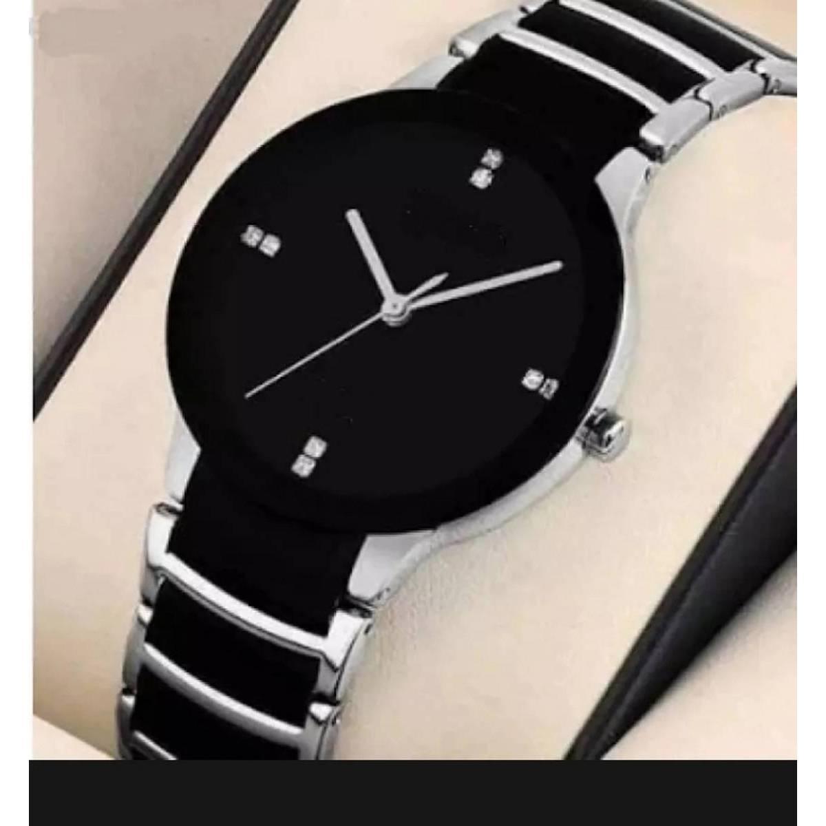Stylish Handsome Silver Black Watch