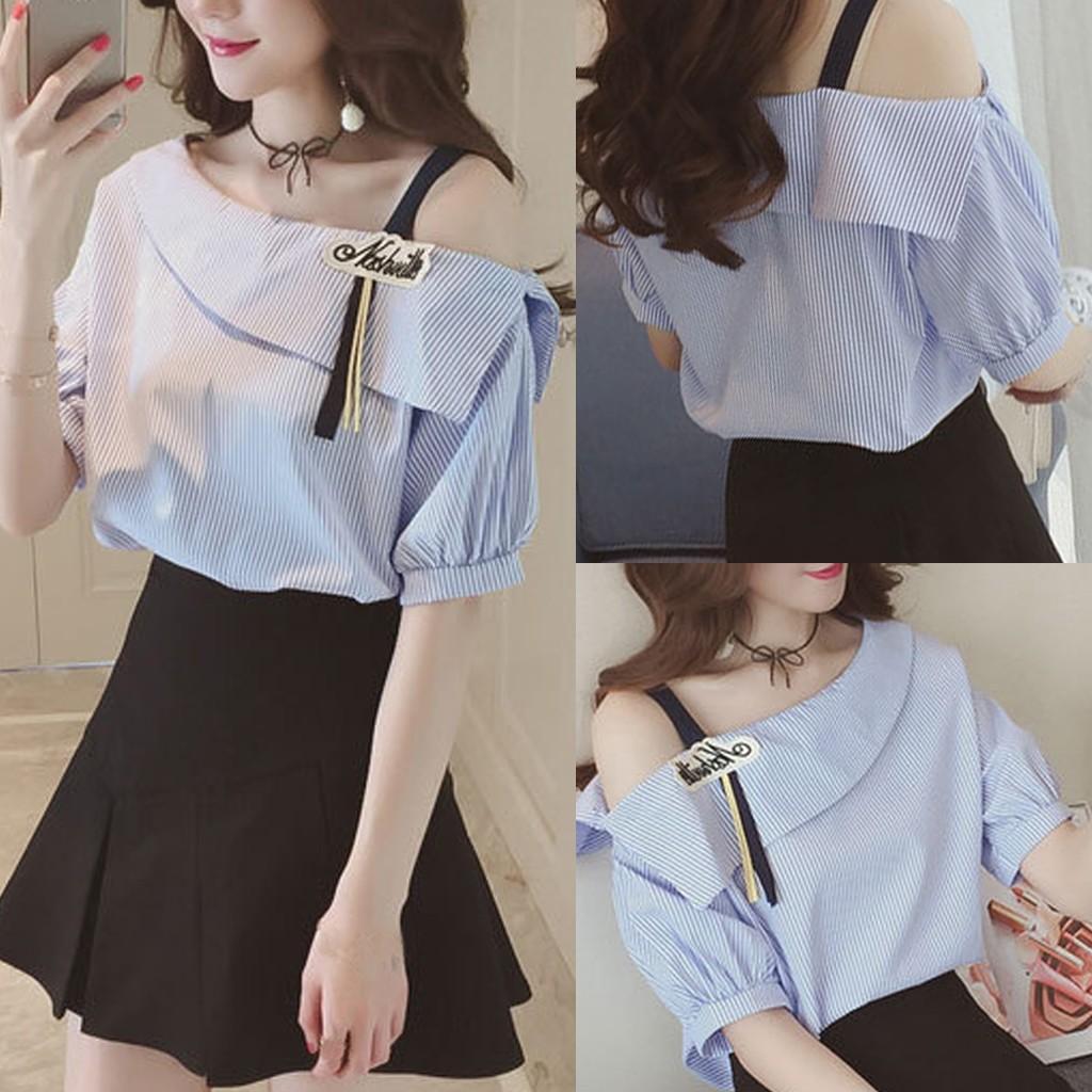 9e33436583dd34 Rainbowroom Fashion Women Top Stripe Shirt Single Shoulder Short Sleeve  Loose Blouse