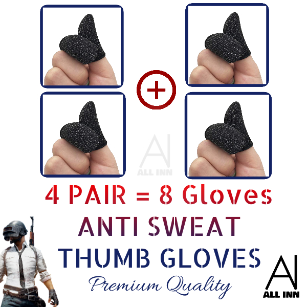 4 pair 8 pieces Anti Sweat Breathable Pubg Thumb Gloves Finger Sleeves Button Gaming Shooter Controller For Pubg