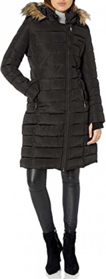 Women's Black Long Puffer Coat with Hood