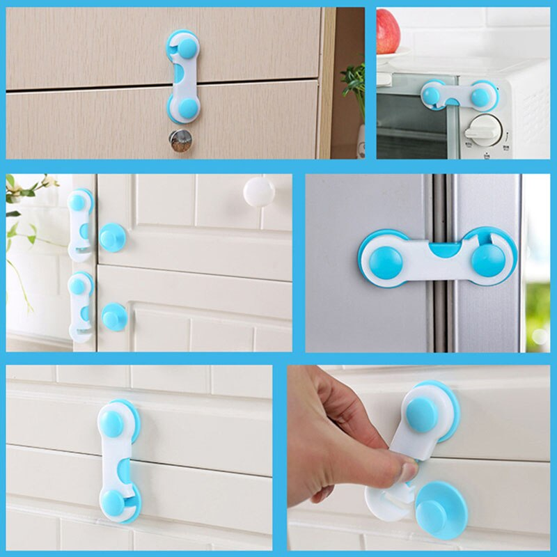 Cabinet Lock Children Security Protector Multi-Function Child Safety Cupboard Drawer Plastic Protection Refrigerator Closet Wardrobe Safe Anti-Theft Prevent Babies From Opening Doors Drawers Or To Unlock Baby Safety Closure Securing From Window
