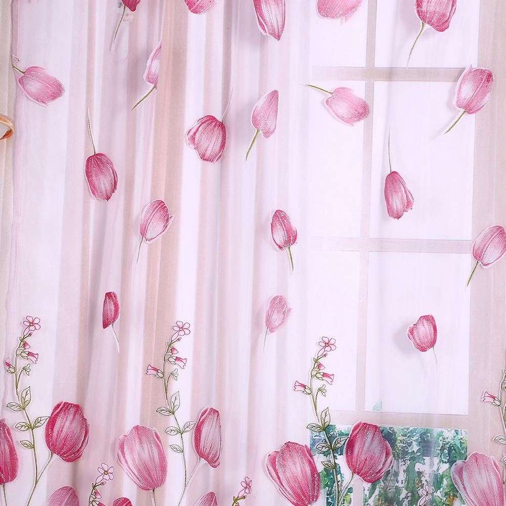 100*200cm Colorful Tulips Printing Tulle Curtains Sheer Drape Balcony Window Decoration: Buy Online at Best Prices in Pakistan | Daraz.pk