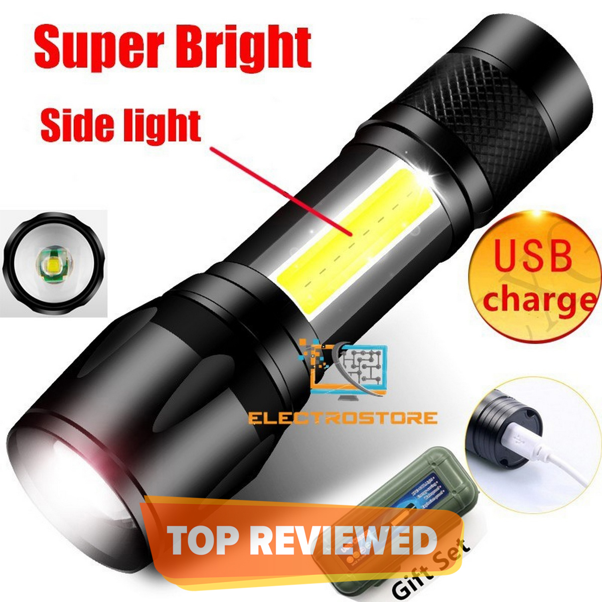 Zoomable Rechargeable LED Torch - Micro USB Charging with Cable and Case - Stainless Steel Design